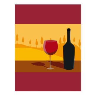 Red wine Tuscany Postcard
