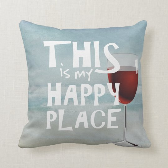 red wine with ocean background throw pillow
