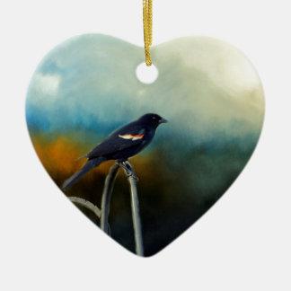 RED Wing Blackbird Ceramic Heart Ornament