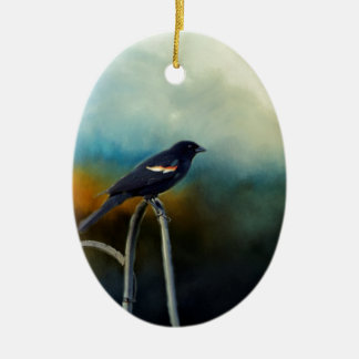 RED Wing Blackbird Ceramic Oval Ornament