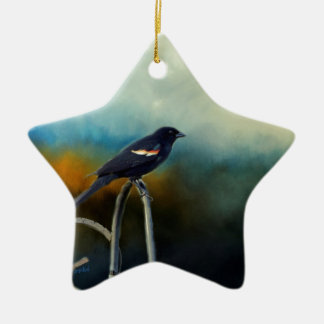 RED Wing Blackbird Ceramic Star Ornament