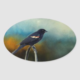 RED Wing Blackbird Oval Sticker