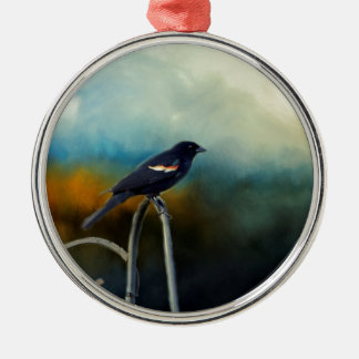 RED Wing Blackbird Silver-Colored Round Ornament