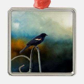 RED Wing Blackbird Silver-Colored Square Ornament