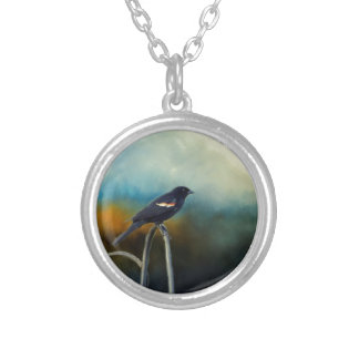 RED Wing Blackbird Silver Plated Necklace