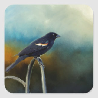 RED Wing Blackbird Square Sticker