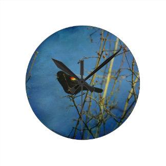 Red-Winged Black Bird singing Wallclocks