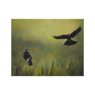 Red Winged BlackBird Art Oil Painting Canvas Print