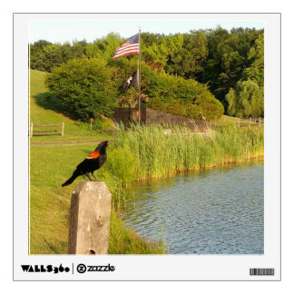 Red-winged Blackbird Perched on Post Decal