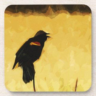 Red-Winged Blackbird Singing Abstract Coaster