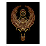 Red Winged Egyptian Scarab Beetle with Ankh Black Poster