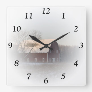 Red Winter Barn Square Clock