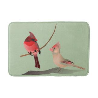 Red Winter Birds Christmas Cardinals on Green Bath Mat