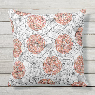Red winter blooms throw pillow