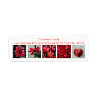Red winter collage return address label