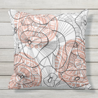 Red winter flowers outdoor pillow