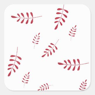 Red Winter Foliage Square Sticker