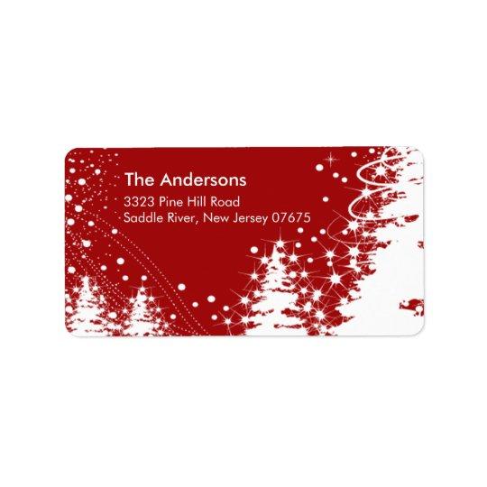 Red Winter Tree Snow Scene Return Address Label