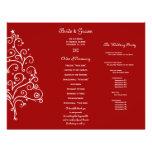 Red Winter Tri Fold Wedding Program Flyers