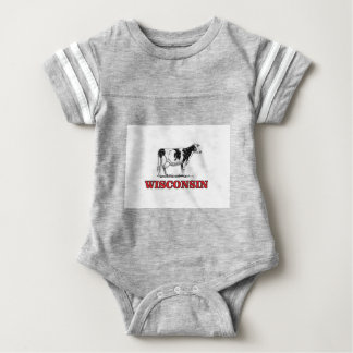 red Wisconsin cow Baby Bodysuit