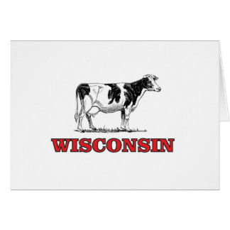 red Wisconsin cow Card