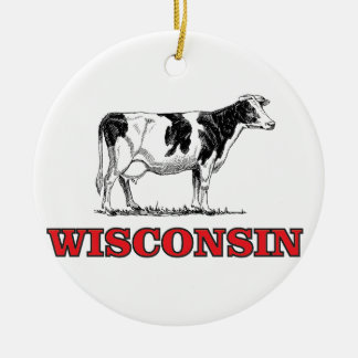 red Wisconsin cow Ceramic Ornament