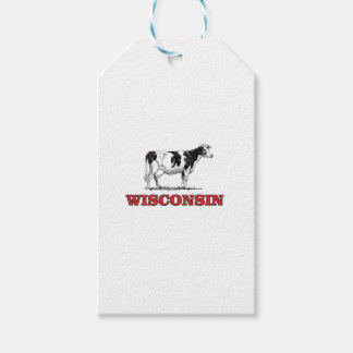 red Wisconsin cow Gift Tags