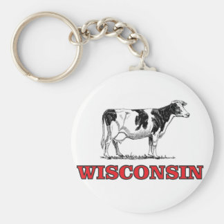 red Wisconsin cow Keychain