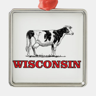 red Wisconsin cow Metal Ornament