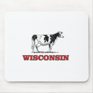 red Wisconsin cow Mouse Pad
