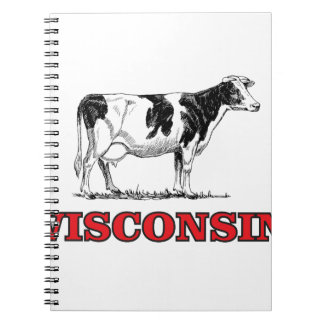 red Wisconsin cow Notebook