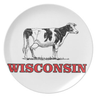red Wisconsin cow Plate