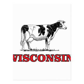 red Wisconsin cow Postcard