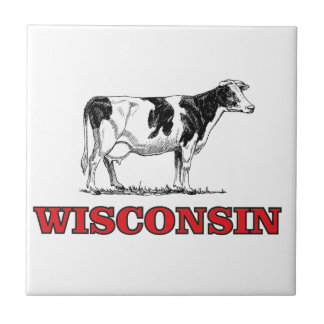 red Wisconsin cow Tile