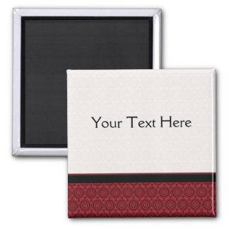 Red With Black Lace Rounds Pattern With Border Square Magnet