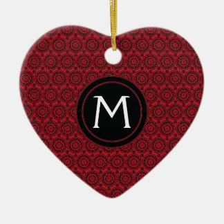 Red With Black Lace Rounds Pattern With Initial Ceramic Ornament