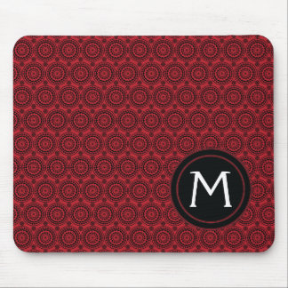 Red With Black Lace Rounds Pattern With Initial Mouse Pad