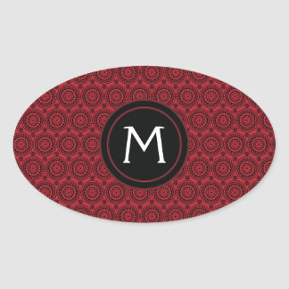 Red With Black Lace Rounds Pattern With Initial Oval Sticker