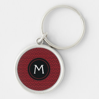 Red With Black Lace Rounds Pattern With Initial Silver-Colored Round Keychain
