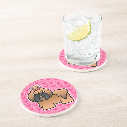 Red With Black Mask Cartoon Shih Tzu Love Coaster