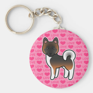 Red With Black Overlay Akita Dog On Pink Keychain