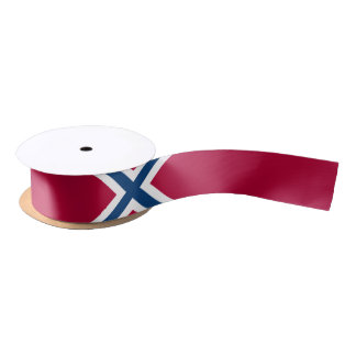 Red with Blue and White X'd Satin Ribbon