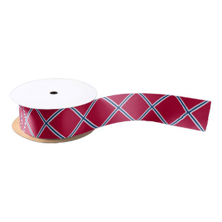 Red with Blue and White X's Satin Ribbon