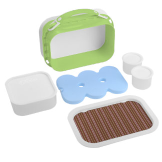 Red With Brown Stripes Pattern Lunch Boxes