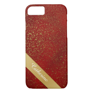Red with Gold Glitter iPhone 7 case