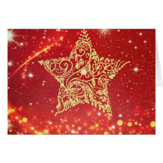 Red with Gold Star Xmas Card, envelopes included Card