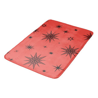 Red with stars bath mat