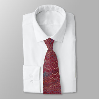 Red with white outline marbelized pattern necktie