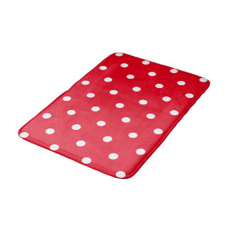 Red with White Polka Dots Bath Mat