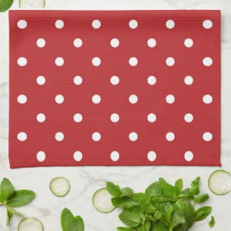 Red with White Polka Dots Kitchen Towel